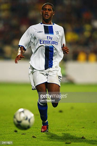 Glen Johnson of Chelsea chases a loose ball during the UEFA Champions League qualifying round first leg match between MSK Zilina and Chelsea held on...