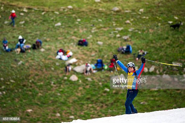 Glen Johnson of Dillon celebrates after wiping out on a run during the 49th running of the Epworth Cup an unofficial ski race atop Corona Pass on...