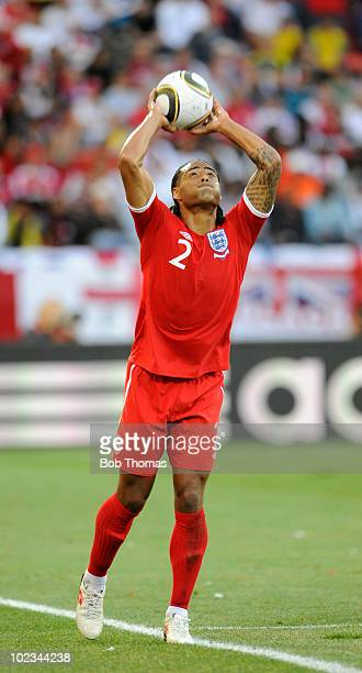 Glen Johnson of England about to throw in the ball during the 2010 FIFA World Cup South Africa Group C match between Slovenia and England at the...