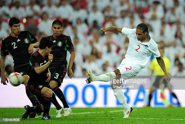 Glen Johnson of England scores his first and England's third during the International Friendly match between England and Mexico at Wembley Stadium on...