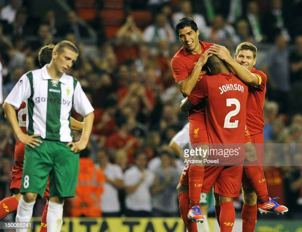Glen Johnson of Liverpool celebrates his goal during the UEFA Europa League Third Round Qualifier between Liverpool and Gomel at Anfield on August 9,...