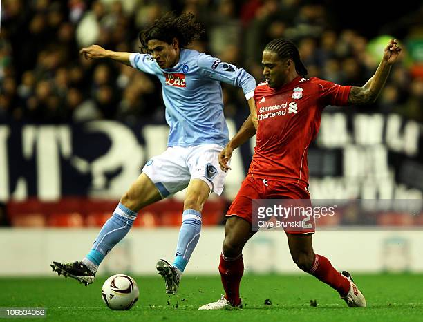 Glen Johnson of Liverpool challenges Edinson Cavani of Napoli during the UEFA Europa League Group K match beteween Liverpool and SSC Napoli at...