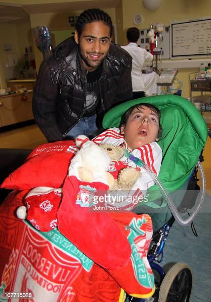 Glen Johnson of Liverpool FC makes a visit to Alder Hey Children's Hospital on December 21 2010 in Liverpool England