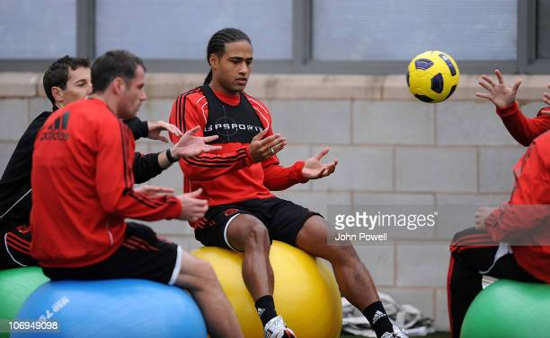 Glen Johnson of Liverpool in action during a training session at Melwood Training Ground on November 18 2010 in Liverpool England