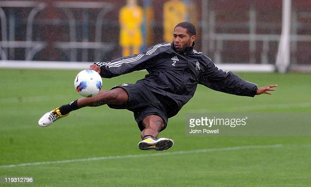 Glen Johnson of Liverpool in action during a training session at Melwood training ground on July 18, 2011 in Liverpool, England.