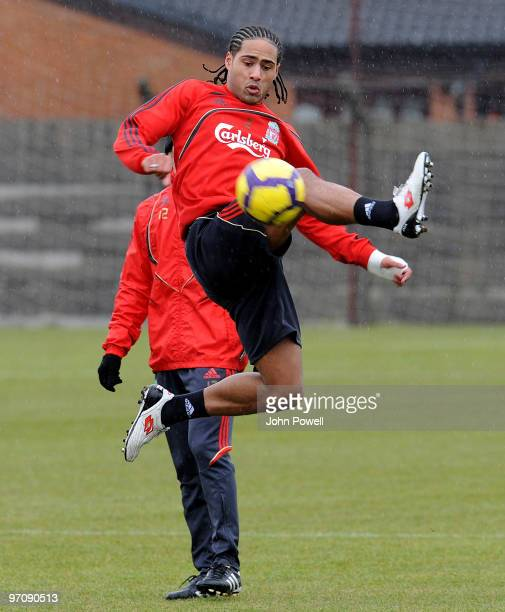 Glen Johnson of Liverpool in action during a training session at Melwood Training Ground on February 26 2010 in Liverpool England