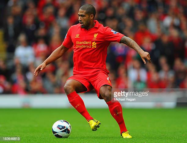Glen Johnson of Liverpool in action during the Barclays Premier League match between Liverpool and Manchester United at Anfield on September 23 2012...