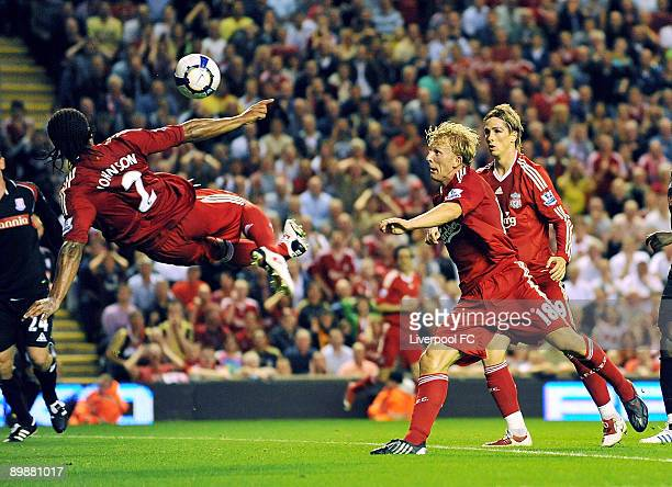Glen Johnson of Liverpool scores the second goal during the Barclays Premier League match between Liverpool and Stoke City at Anfield on August 19...