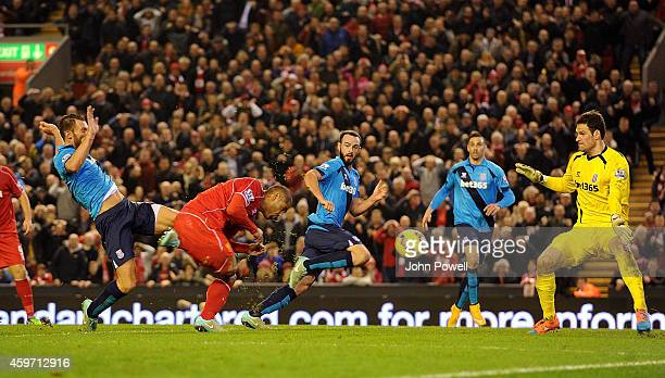 Glen Johnson of Liverpool scores to make it 1-0 during the Barclays Premier Leauge match between Liverpool and Stoke City at Anfield on November 29,...
