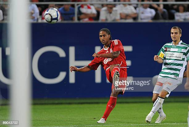 Glen Johnson of Liverpool shoots just wide of the goal during his first match for Liverpool FC during the preseason friendly match between FC St...