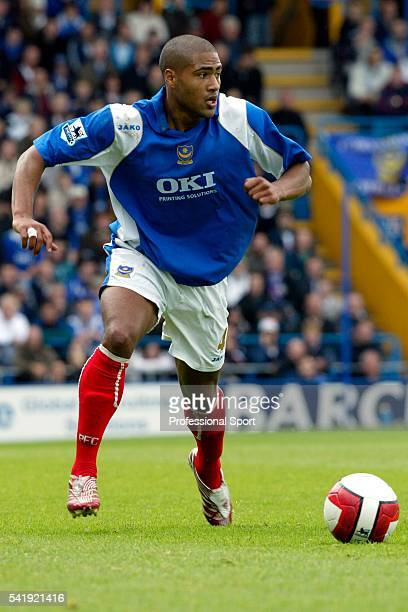 Glen Johnson of Portsmouth in action during the Barclays Premier League match between Portsmouth and Arsenal at Fratton Park in Portsmouth on the...