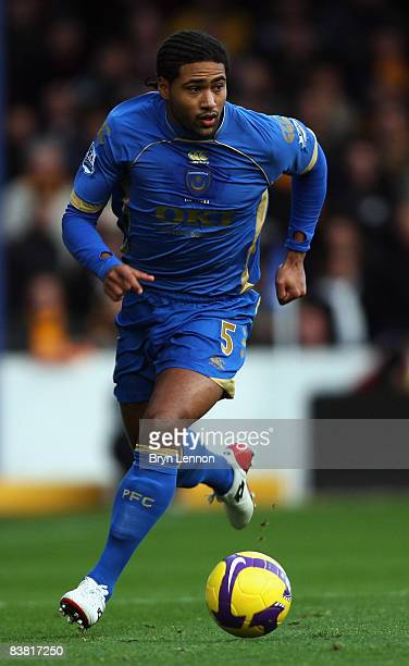 Glen Johnson of Portsmouth in action during the Barclays Premier League match between Portsmouth and Hull City at Fratton Park on November 22 2008 in...