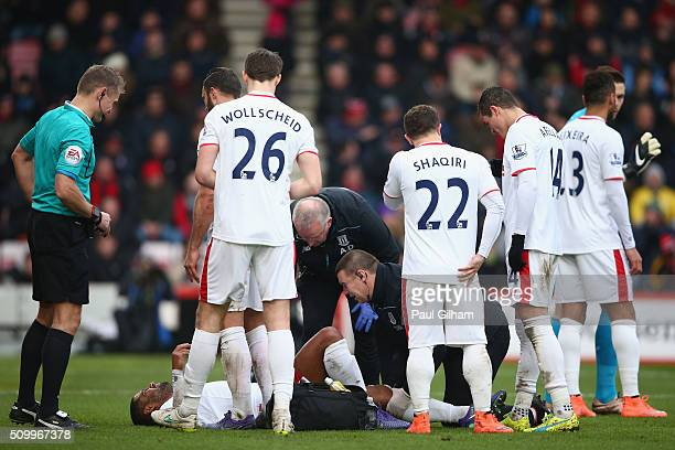 Glen Johnson of Stoke City receives a medical treatment during the Barclays Premier League match between AFC Bournemouth and Stoke City at Vitality...