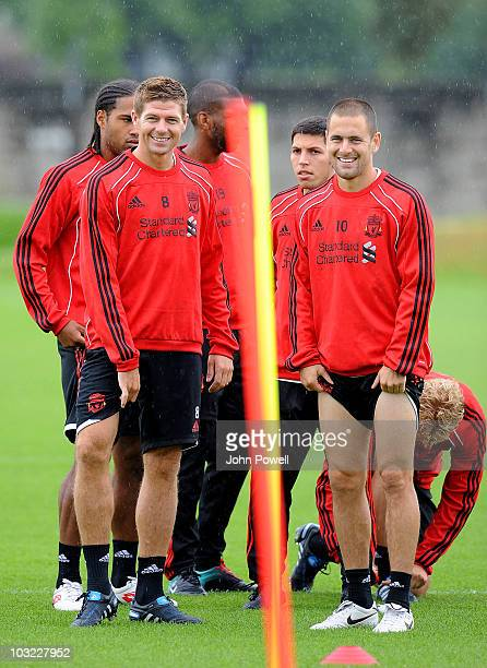 Glen Johnson Steven Gerrard Ryan Babel Daniel Pacheco and Joe Cole of Liverpool during a training session ahead of the Europa League Qualifying Round...