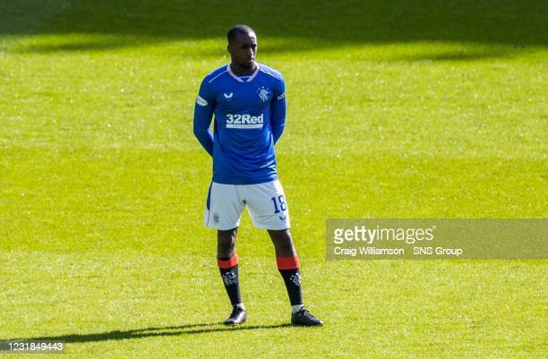 Glen Kamara is pictured as Both sets of players stand together in solidarity against Racism during the Scottish Premiership match between Celtic and...