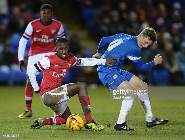 Glen Kamara of Arsenal holds off Oliver Luto of Peterborough during the FA Youth Cup Fourth Round match between Peterborough United U18 and Arsenal...