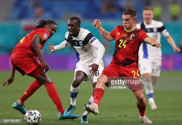 Glen Kamara of Finland is challenged by Leandro Trossard of Belgium during the UEFA Euro 2020 Championship Group B match between Finland and Belgium...