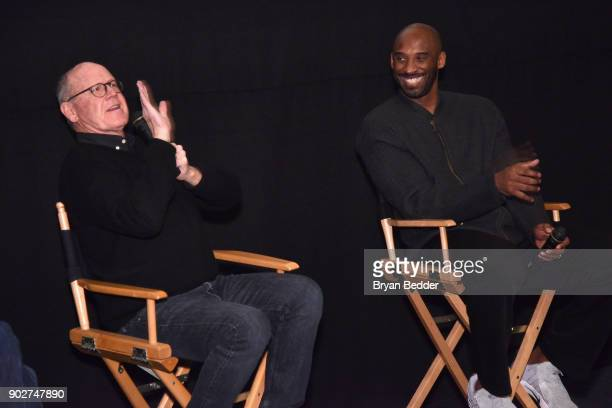 Glen Keane and Kobe Bryant speak during the Dear Basketball screening and QA at The Landmark at 57 West on January 8 2018 in New York City