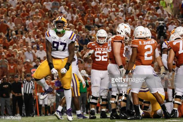 Glen Logan of the LSU Tigers celebrates after a sack in the fourth quarter against the Texas Longhorns at Darrell K RoyalTexas Memorial Stadium on...