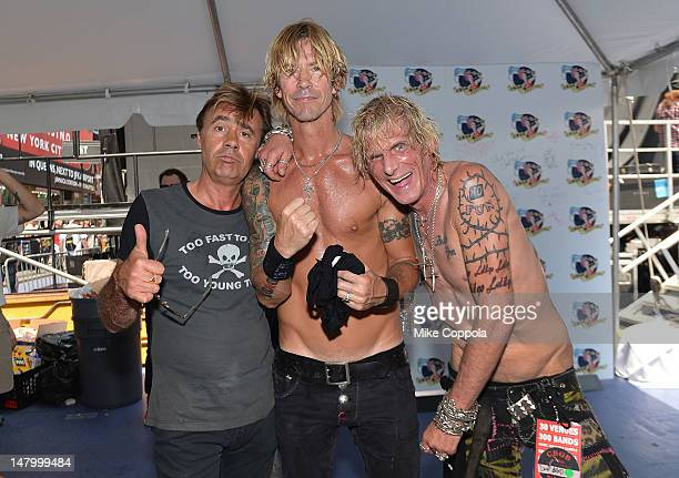 Glen Matlock of the Sex Pistols Duff McKagan of the band Loaded and Jimmy Webb of Trash And Vaudeville pose for a picture backstage at the 2012 CBGB...