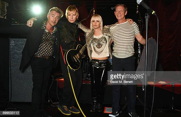 Glen Matlock Zak Starkey Sshh Liguz and Paul Cook of SSHH pose onstage at the launch of Issues a new album by SSHH in aid of Teenage Cancer Trust at...