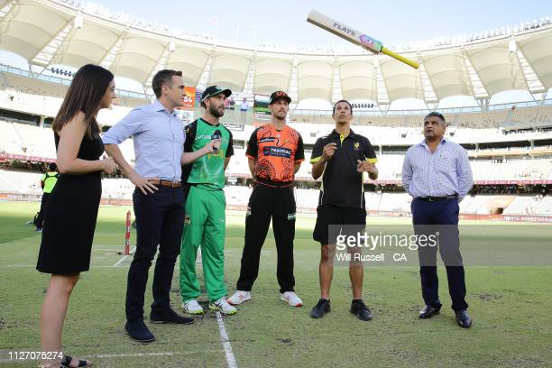 Glen Maxwell of the Stars and Mitch Marsh of the Scorchers look on during the bat flip before the Big Bash League match between the Perth Scorchers...