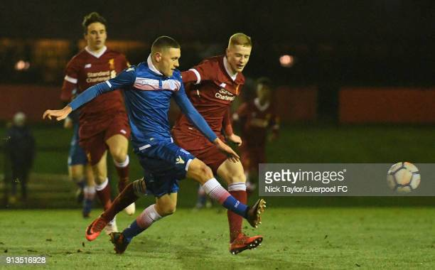 Glen McAuley of Liverpool and Max Murphy of Stoke City in action during the Liverpool v Stoke City U18 Premier League game at The Kirkby Academy on...