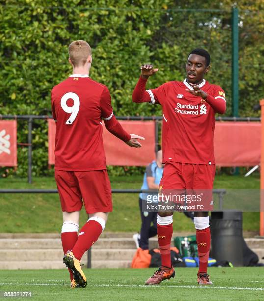 Glen McAuley of Liverpool celebrates his goal with team mate Rafael Camacho during the U18 friendly match between Liverpool and Burnley at The Kirkby...