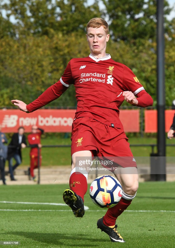 Glen McAuley of Liverpool in action during the U18 friendly match between Liverpool and Burnley at The Kirkby Academy on October 6, 2017 in Kirkby, England.
