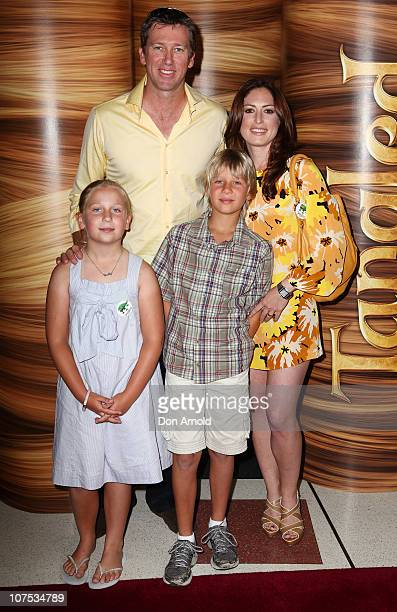 Glen McGrath Sara Leonardi and Glen's children Holly and James arrive at the Australian premiere of 'Tangled' at The Entertainment Quarter on...