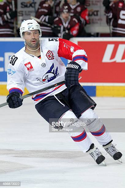 Glen Metropolit of Adler Mannheim during the Champions Hockey League group stage game between Sparta Prague and Adler Mannheim on October 8, 2014 in...