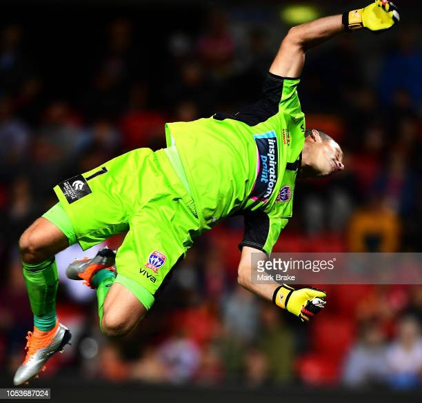 Glen Moss goal keeper of the Newcastle Jets follows a ball to the cross bar during the round two A-League match between Adelaide United and the...