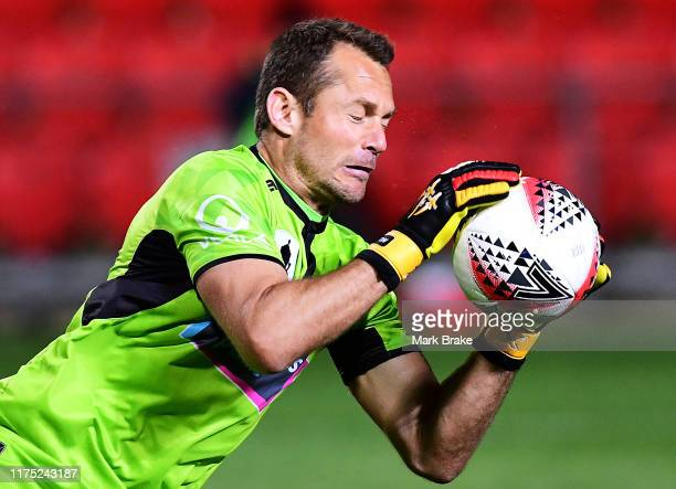 Glen Moss goalkeeper of Newcastle Jets makes a save during the FFA Cup 2019 Quarter Finals match between Adelaide United and the Newcastle Jets at...