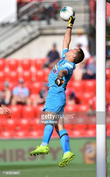 Glen Moss goalkeeper of Newcastle Jets saves during the round nine A-League match between Adelaide United and the Newcastle Jets at Coopers Stadium...