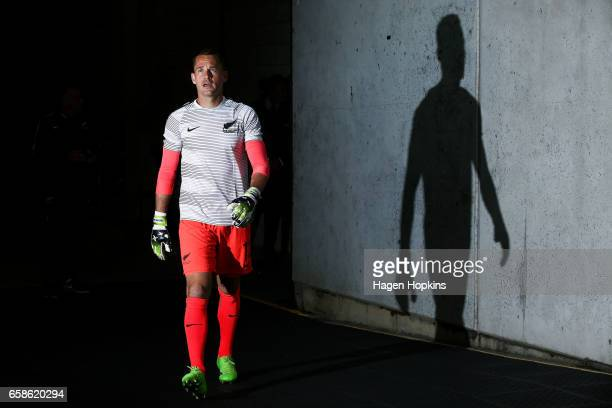 Glen Moss of New Zealand takes thew field to warm up during the 2018 FIFA World Cup Qualifier match between the New Zealand All Whites and Fiji at...