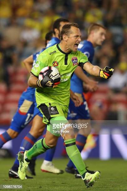 Glen Moss of Newcastle Jets during the round 15 A-League match between the Newcastle Jets and the Central Coast Mariners at McDonald Jones Stadium on...
