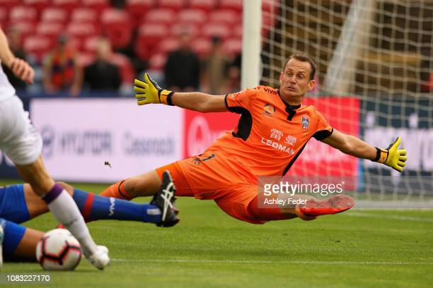 Glen Moss of Newcastle Jets in goals during the round eight A-League match between the Newcastle Jets and the Perth Glory at McDonald Jones Stadium...
