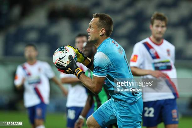 Glen Moss of the Jets in action during the round 6 A-League match between Western United and the Newcastle Jets at GMHBA Stadium on November 16, 2019...