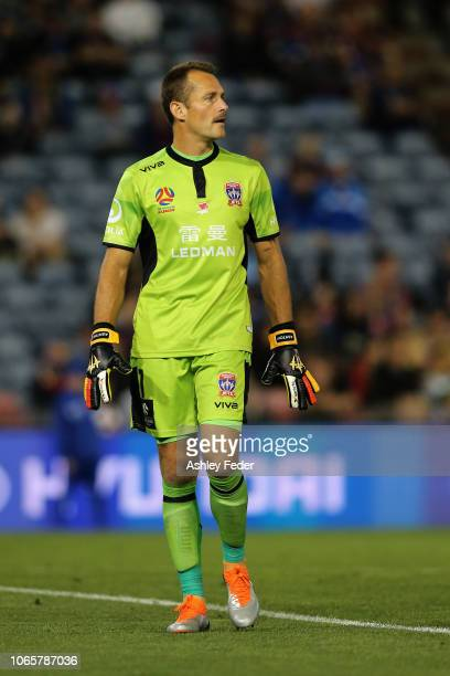 Glen Moss of the Jets looks on during the round four A-League match between the Newcastle Jets and Sydney FC at McDonald Jones Stadium on November...