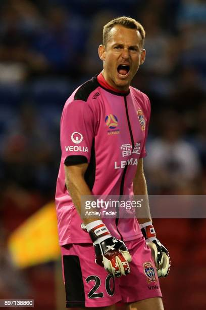 Glen Moss of the Jets reacts during the round 12 ALeague match between the Newcastle Jets and the Western Sydney Wanderers at McDonald Jones Stadium...