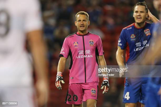 Glen Moss of the Jets reacts with team mate Nigel Boogaard during the round 12 ALeague match between the Newcastle Jets and the Western Sydney...