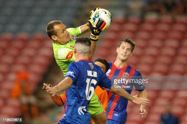 Glen Moss of the Newcastle Jets catches the ball during the round 12 A-League match between the Newcastle Jets and Brisbane Roar at McDonald Jones...