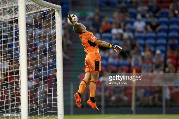 Glen Moss of the Newcastle Jets concedes a goal during the round 10 A-League match between the Newcastle Jets and Adelaide United at McDonald Jones...