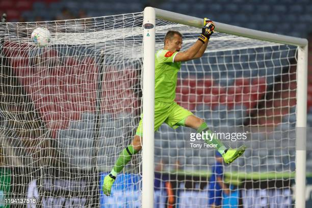 Glen Moss of the Newcastle Jets during the round 10 A-League match between the Newcastle Jets and Melbourne City at McDonald Jones Stadium on...