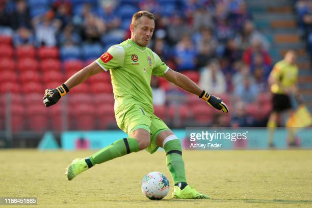Glen Moss of the Newcastle Jets in action during the Round 5 A-League match between the Newcastle Jets and the Perth Glory at McDonald Jones Stadium...