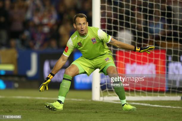 Glen Moss of the Newcastle Jets in action during the round eight A-League match between the Newcastle Jets and the Western Sydney Wanderers at...