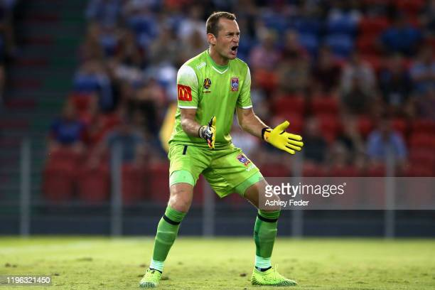 Glen Moss of the Newcastle Jets in goals during the round 12 A-League match between the Newcastle Jets and Brisbane Roar at McDonald Jones Stadium on...