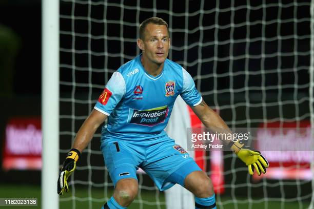 Glen Moss of the Newcastle Jets in goals during the round two A-League match between the Central Coast Mariners and the Newcastle Jets at Central...