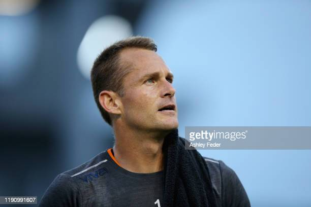 Glen Moss of the Newcastle Jets looks on during the round eight A-League match between the Newcastle Jets and the Western Sydney Wanderers at...