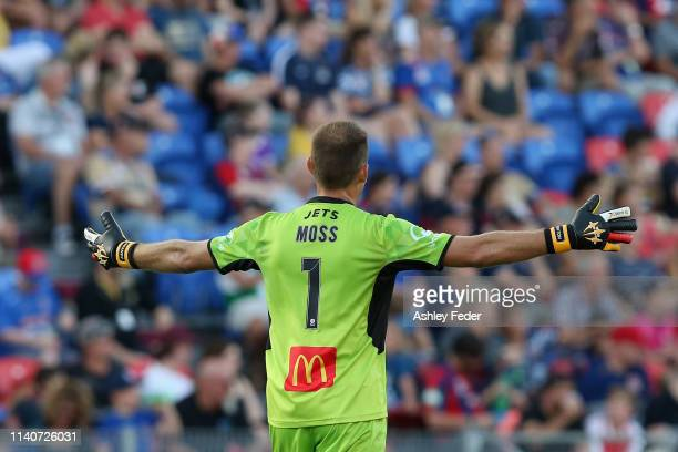 Glen Moss of the Newcastle Jets reacts during the round 24 A-League match between the Newcastle Jets and the Western Sydney Wanderers at McDonald...